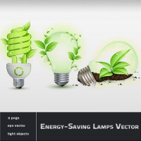 Eco Green Leaf and Energy Saving Lamps Vector