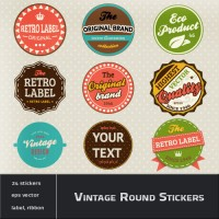 Classic Round vintage stickers