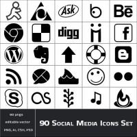 90 Mono Social Media Icon Sets