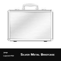 Silver Metal briefcase Icon Template