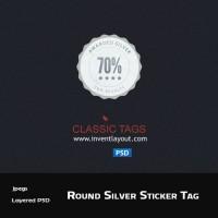 Round Silver Sticker Tag PSD