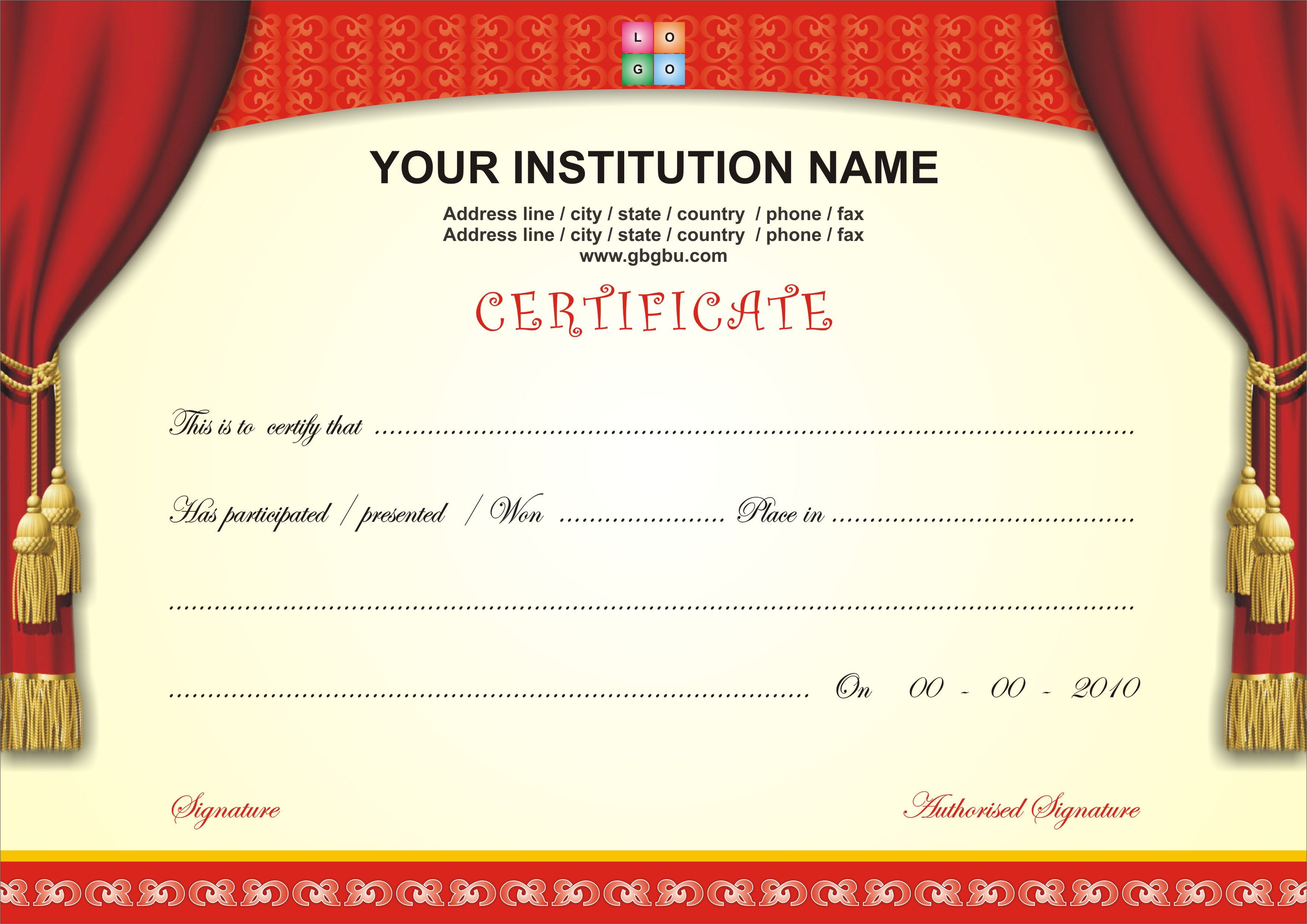 Certificate Templates Free Downloads
