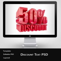 3D Discount Text PSD