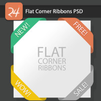 Flat Corner Ribbons PSD