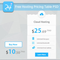 Free Hosting Vertical Pricing Table PSD