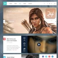 Flat Magazine Website UI kit PSD